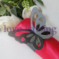 Hot Sale-100pcs Negro Papel Mariposa Anillos de servilleta de boda nupcial Ducha Servilleta servilleta-orden de la muestra