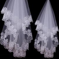 2018 невесты свадебная фата Белая слоновая кость 1,5 метра кружева две свадебные фаты аппликации невесты фата