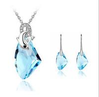 Helt ny 2014 autentisk österrikisk kristall mode oregelbunden form halsband örhängen smycken sätter bröllopsfest klänning grossist