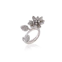 lotus Between the Finger ring myjewelry Moda donna Grandi anelli Anelli comuni per donna Anello fiore foglia di cristallo ZR246