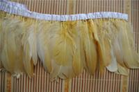 Livraison gratuite 10 yards or plume d'oie coupe frange garniture d'oie garniture pour les mariages artisanat costume costume