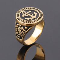 Bague en acier inoxydable de haute qualité Anchor Biker Hommes Bague Hot vente Homme Bijoux Homme Engagement Golden Ring