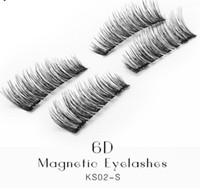 거짓 속눈썹 6D 마그네틱 속눈썹 더블 마그넷 가짜 아이 래쉬 손으로 만든 스트립 속눈썹 cilios posticos