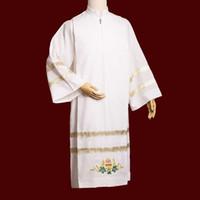 Religie Robe White Alb Katholieke Kerk Ihs Chalice Borduurwerk Altaar Server Wandelingen voor Mannen Snelle Zending