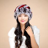 Wholesale-14602b NUEVO Tejido de punto REX real sombrero de piel de conejo de calidad superior beanie hat con decoración de flores tocado tocado cabeza más cálido