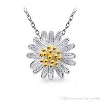 Ciondoli in argento sterling 925 gioielli in argento sterling ciondolo vintage etnico dorato argento girasole fiore margherita