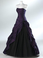 Purple And Black Ball Gown Gothic Wedding Dresses for Brides...