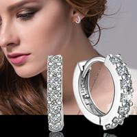 2015 nuovi orecchini di cerchio del diamante della CZ dell'esclusiva dell'argento sterlina 925 di disegno 925 bei monili di cerimonia nuziale / impegno trasporto libero