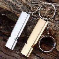 Aluminium Doppelfrequenz-Molle-Pfeife Keychain für Camping Wandern Außensportausrüstung Werkzeuge 5 PC