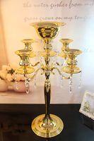 H75cm * W48cm, Altın renk 5 Kafaları Kristal Şamdan, Mumluk, düğün Merkezinde, çiçek kase kolye ile Mumluk