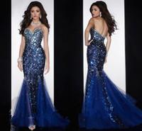 2015 뜨거운 인어 연인 오픈 다시 크리스털 구슬 장식 된 다이아몬드 Organza 댄스 파티 가운 크리스탈 로얄 블루 이브닝 드레스