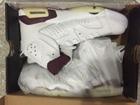 Discount VI 6 MAROON Basketball Shoes White New Maroon Athle...