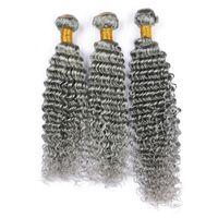 Cinza de prata Profunda Curly Extensões de Cabelo Humano 3 Pçs / lote Pure Color Cinza Brasileira 9A Virgem Do Cabelo Humano Tece Onda Profunda Curly Extensão
