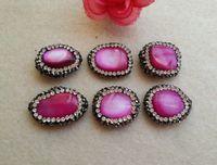 10pcs Cáscara natural Druzy Druzy Beads con pavimento Rhinestone Conector de cristal Cuentas espaciadores para bricolaje Hacer Pulsera Collar Joyería SA6