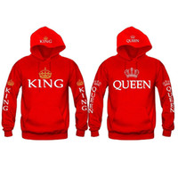 Оптовая хлопок новых любителей корона король королева Письмо печати с капюшоном с длинными рукавами свитер капот пальто балахон