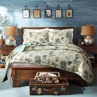 Großhandel-100% Baumwolle Quilt Tagesdecke Pastoralen Vogel und Blumenbeet Quilt 3PC Set King Size Bettbezug Set Home Textile Bettwäsche Tücher gesetzt