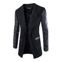 Venta al por mayor- Mens Jacket Blazer Trench Faux cuero Splice Open Stitch abrigo abrigo Outwear Nueva llegada 0783