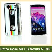Partihandel Retro kassettband Radio Kamera Trädgård Blomma Leopard Zebra Pattern Soft TPU Gel Case för LG Google Nexus 5 E980 Gratis frakt
