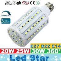 E27 E26 E14 B15 B22 Led Corn Lights 360 Угол 20 Вт 25 Вт 30 Вт Светодиодные лампы с регулируемой яркостью Свет CRI85 Теплый / Холодный Белый AC 110-240 В