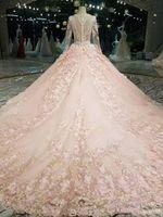 2018 queda do inverno de neve jardim V neck vestido de Baile mangas compridas vestidos de casamento ocidental mãos feitas flores vestidos de casamento de noiva