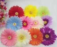 Flores artificiales margarita africana cabeza de la flor accesorios para el cabello gerbera pelo simulación flor de seda venta al por mayor Gerbera daisy (100pcs / lot)