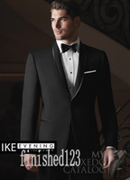 Popolare One Button Smoking dello sposo nero Scial risvolto Groomsmen Best Man Prom Abiti da sposa (Jacket + Pants + Girdle + Tie) G5206