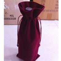 Pack Bouteille de vin Emballage cadeau Sac 15x36cm (6 x 14 pouces) de 20 Velvet Pouch Drawstring