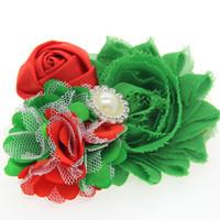 Merry Christmas Headwear 12pcs / Lot Lovely Rose Chiffon Flower Christmas Hair Bows Boutique Diadema Niños Accesorios para el cabello
