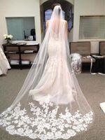 Envío gratis de lujo imagen real velos de boda de tres metros de largo velos de encaje de encaje cristales de la catedral longitud barato velo nupcial
