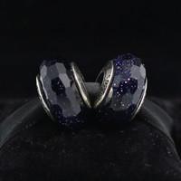 5pcs S925 Sterling Silver Vite Midnight Blue Faceted Murano Glass Branelli Fascino Adatti Braccialetti europei Pandora Braccialetti di fascino