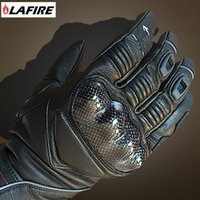 LAFIRE ELITE carbon fiber full leather warm coldproof winter motorcycle gloves 100% waterproof knight riding glove