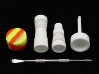 14 milímetros 18 milímetros unhas cerâmica Tool Set Bong Domeless GR2 prego cerâmica com Carb Cap Dabber Slicone Jar Dab para bongs de vidro