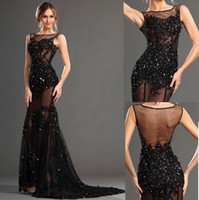 Black Lace Sexy Evening Dresses Sheer Beaded Crystals Lace T...
