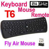 2.4GHz Fly Fly Souris T6 6 Axe Gyroscope Qwerty Clavier Télécommande pour Android TV Box MXQ PRO H96 X96 A95X F3