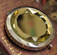 100шт 7CM складной косметическое зеркало компактное зеркало с кристаллом, металлический зеркальце для свадебного подарка