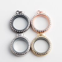 5PCS Lot New 30MM Round Magnetic Floating Locket with Rhines...
