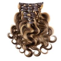 ELIBESS HAIR- # 4 / 27 혼합 브라질 레미 헤어 7 개 70gram 풀 헤드 바디 웨이브 헤어 익스텐션 용 휴먼 헤어 클립