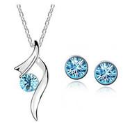 Vendita calda moda argento placcato cristallo pendenti collana / orecchini accessori da sposa set di gioielli per le donne G450