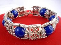 Merveilleux Tibet Argent lapis lazuli bleu perle Bracelet fait à la main 8 ''