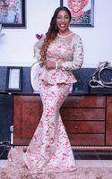 Nuovo arrivo sexy sirena speciale occasione abiti maniche lunghe cloud scollatura abiti da sera del pizzo nigeriano 2016 abito da ballo personalizzato