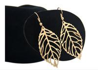 잎 귀걸이 간단한 매달려 샹들리에 귀 핀 보헤미안 스타일은 잎 귀걸이 합금