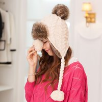 Sombrero mayorista-Sombrero de mujer Cap con Pompom Hat Cable Knit Cap Invierno de esquí térmico Sombrero Mujer protección para los oídos Faux Fur Skullies