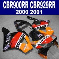Gratis Anpassa Fairing Kit för Honda CBR 900 RR CBR929 00 01 CBR900RR 2000 2001 Red Orange Black Repsol Fairings Set HB32