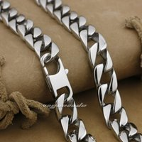 "18 ""~ 36"" 316L Rostfritt stål Mens Halsband Diamond Curb Cuban Chain 5A002N"