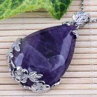 Großhandel 10 Stücke Charms Amethyst Rosenquarz kristall Lapis lazuli Stein Waterdrop Form Perlen Anhänger Für Halskette Schmuck