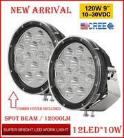 "2 ADET 9 ""120 W 12LED * 10 W CREE LED Sürüş İş Işık Yuvarlak Offroad SUV ATV 4WD 4x4 Taşıma Nokta Işın 10-60 V 12000lm W Combo Koruma Kapağı"