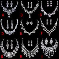2021 Bling Strass Stretch Bangle Hochzeit Schmuck Zubehör Armband Halskette Bridal Set Ohrringe 2 3 5 Reihe für Party Weihnachtsgeschenk