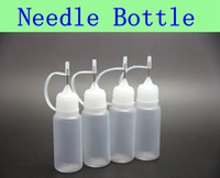50pcs botellas de la aguja de MOQ 10ml botella vacía para eGo serie cigarrillo electrónico E-cig botellas de plástico cuentagotas de la aguja