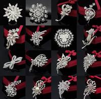 최고 등급 브로치 핀 여성 소녀 선물 뜨거운 판매 패션 실버 크리스탈 라인 석 꽃 꽃다발 핀 브로치 도매 무료 0006DR
