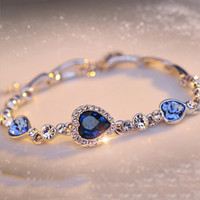 Crystal Heart Bracelets The Color Of Gold Plating Jewelry So...